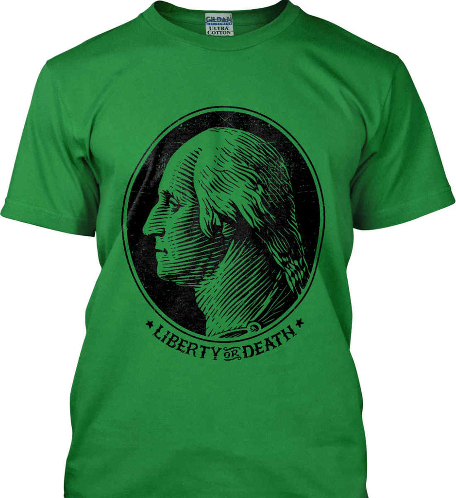 George Washington Liberty or Death. Black Print Gildan Ultra Cotton T-Shirt.-7