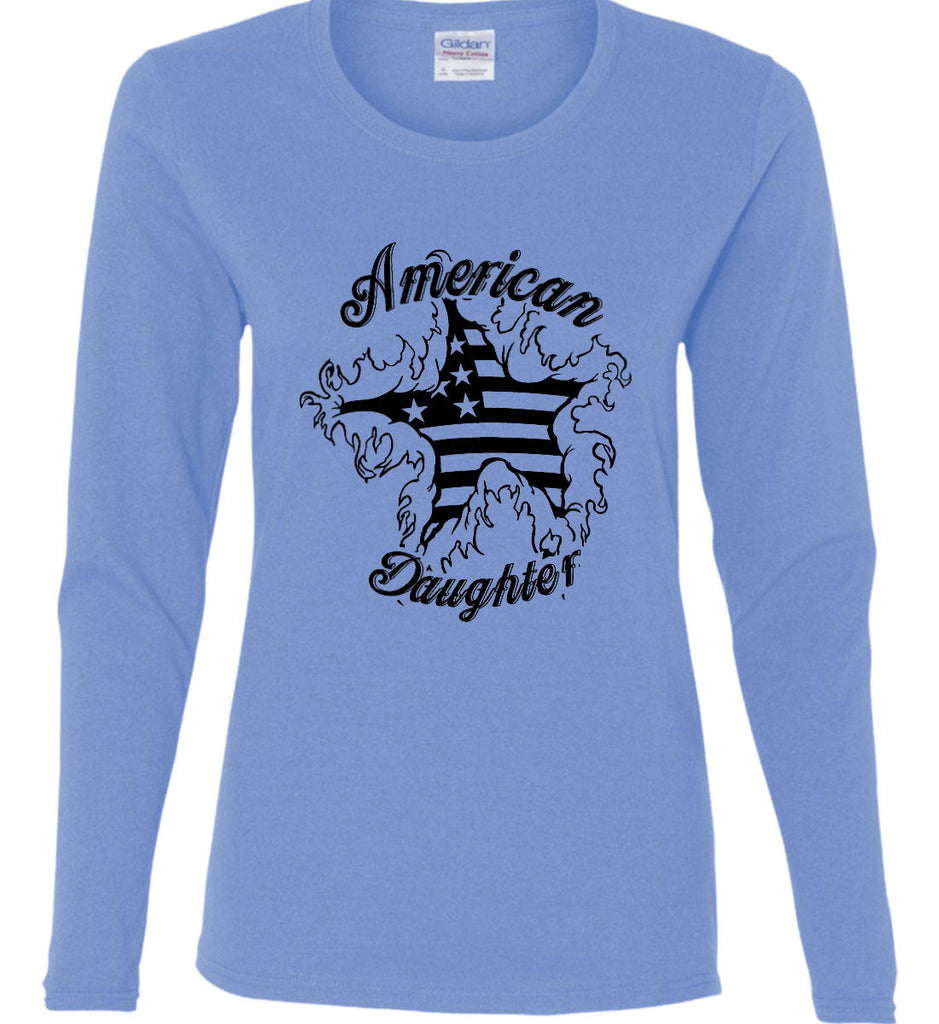 American Daughter. Women's Patriot Design. Women's: Gildan Ladies Cotton Long Sleeve Shirt.-2