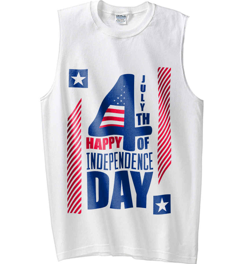 4th of July with Stars and Stripes. Gildan Men's Ultra Cotton Sleeveless T-Shirt.-2