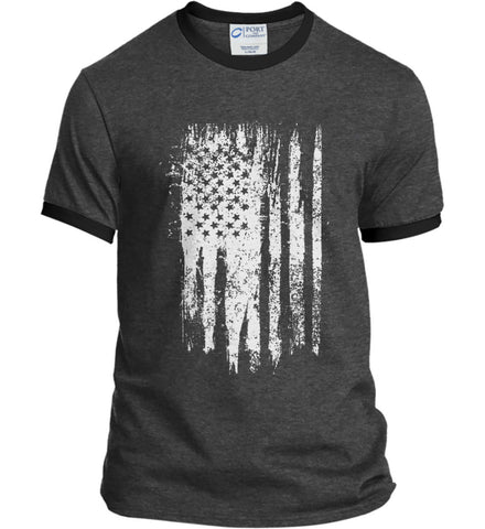 Grungy Grey USA Flag Port and Company Ringer Tee.