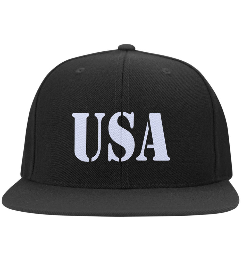 USA Patriot Hat Yupoong Flat Bill Twill Flexfit Cap. (Embroidered)-2