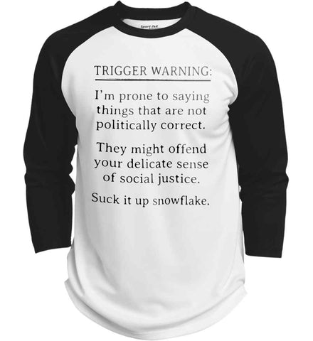 Trigger Warning: I'm prone to saying things that are not politically correct. Black Print. Sport-Tek Polyester Game Baseball Jersey.