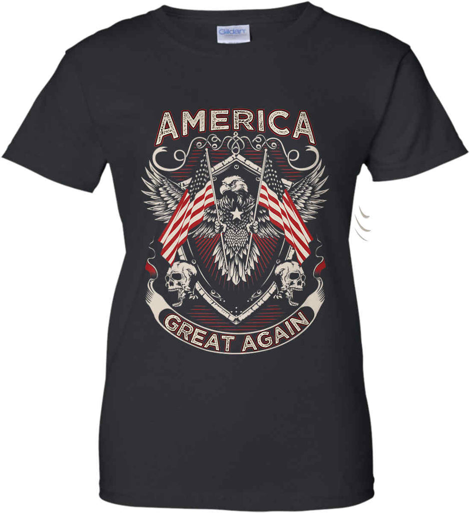 America. Great Again. Women's: Gildan Ladies' 100% Cotton T-Shirt.-1