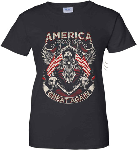 America. Great Again. Women's: Gildan Ladies' 100% Cotton T-Shirt.