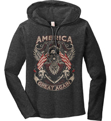 America. Great Again. Women's: Anvil Ladies' Long Sleeve T-Shirt Hoodie.