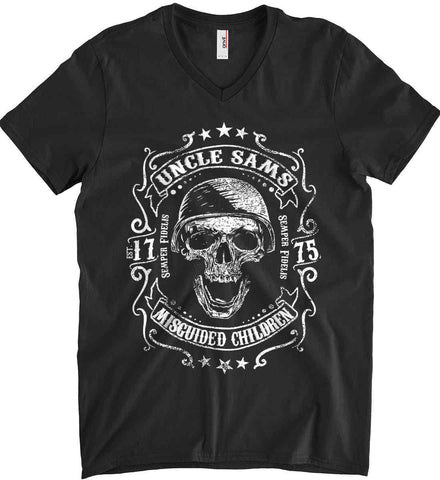 Uncle Sams Misguided Children - USMC - Semper Fidelis. Anvil Men's Printed V-Neck T-Shirt.