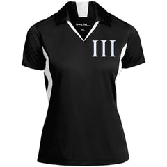 Three Percent Symbol. White. Women's: Sport-Tek Ladies' Colorblock Performance Polo. (Embroidered)