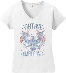 Vintage Americana Faded Grunge Women's: Anvil Ladies' V-Neck T-Shirt.