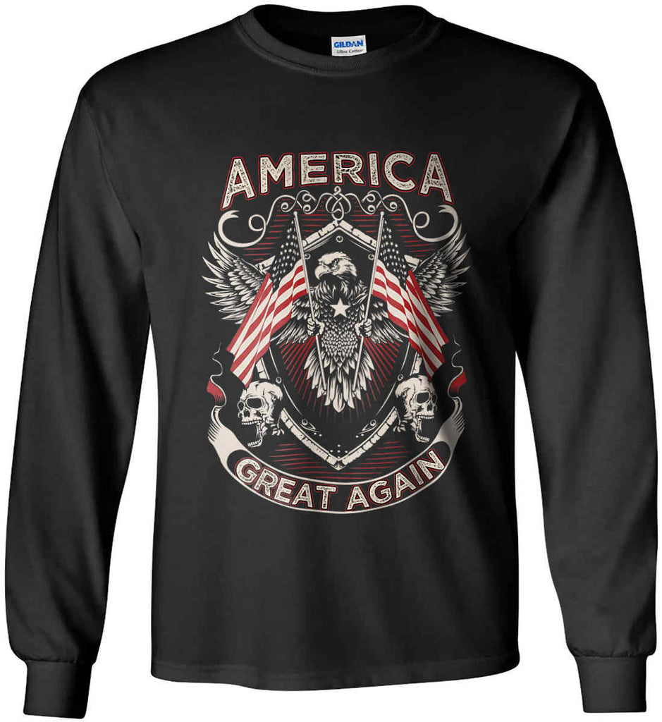 America. Great Again. Gildan Ultra Cotton Long Sleeve Shirt.-1