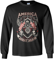 America. Great Again. Gildan Ultra Cotton Long Sleeve Shirt.
