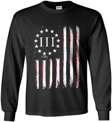 Three Percent on American Flag. Gildan Ultra Cotton Long Sleeve Shirt.