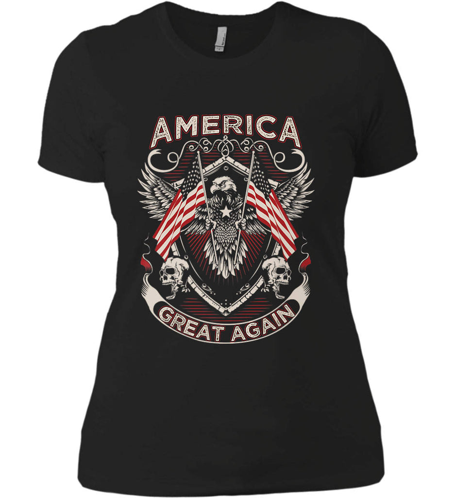 America. Great Again. Women's: Next Level Ladies' Boyfriend (Girly) T-Shirt.-1