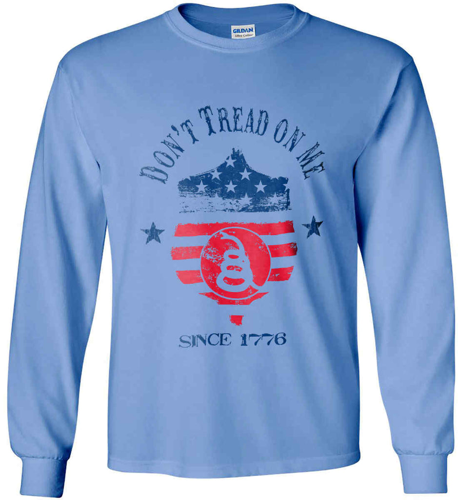 Don't Tread on Me. Snake on Shield. Red, White and Blue. Gildan Ultra Cotton Long Sleeve Shirt.-7