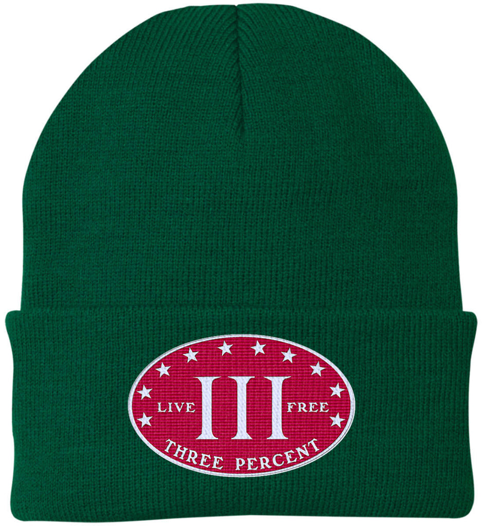 Three Percenter. Live Free. Hat. Port Authority Knit Cap. (Embroidered)-4