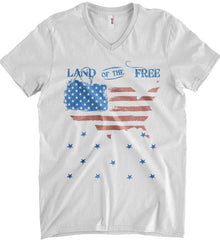 Land of the Free. Anvil Men's Printed V-Neck T-Shirt.