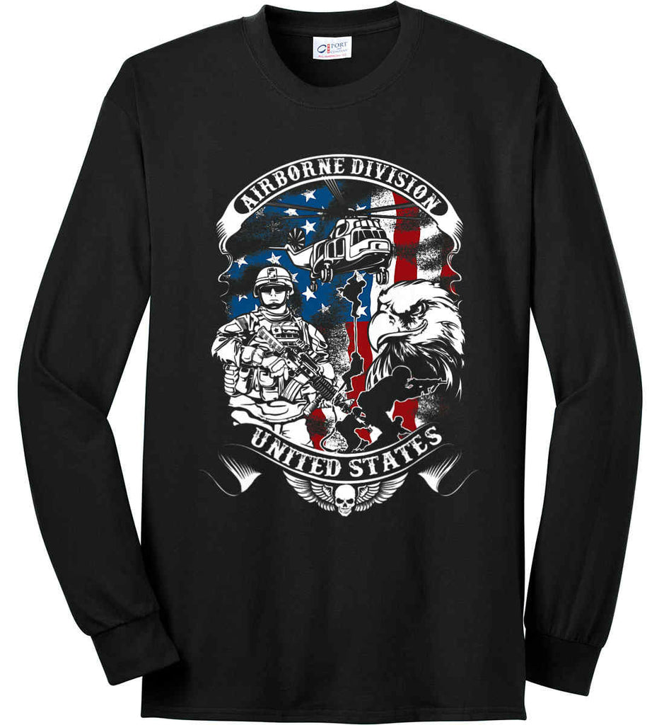 Airborne Division. United States. Port & Co. Long Sleeve Shirt. Made in the USA..-1