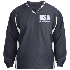 USA. All Day. Everyday. White Text. Sport-Tek Tipped V-Neck Windshirt. (Embroidered)