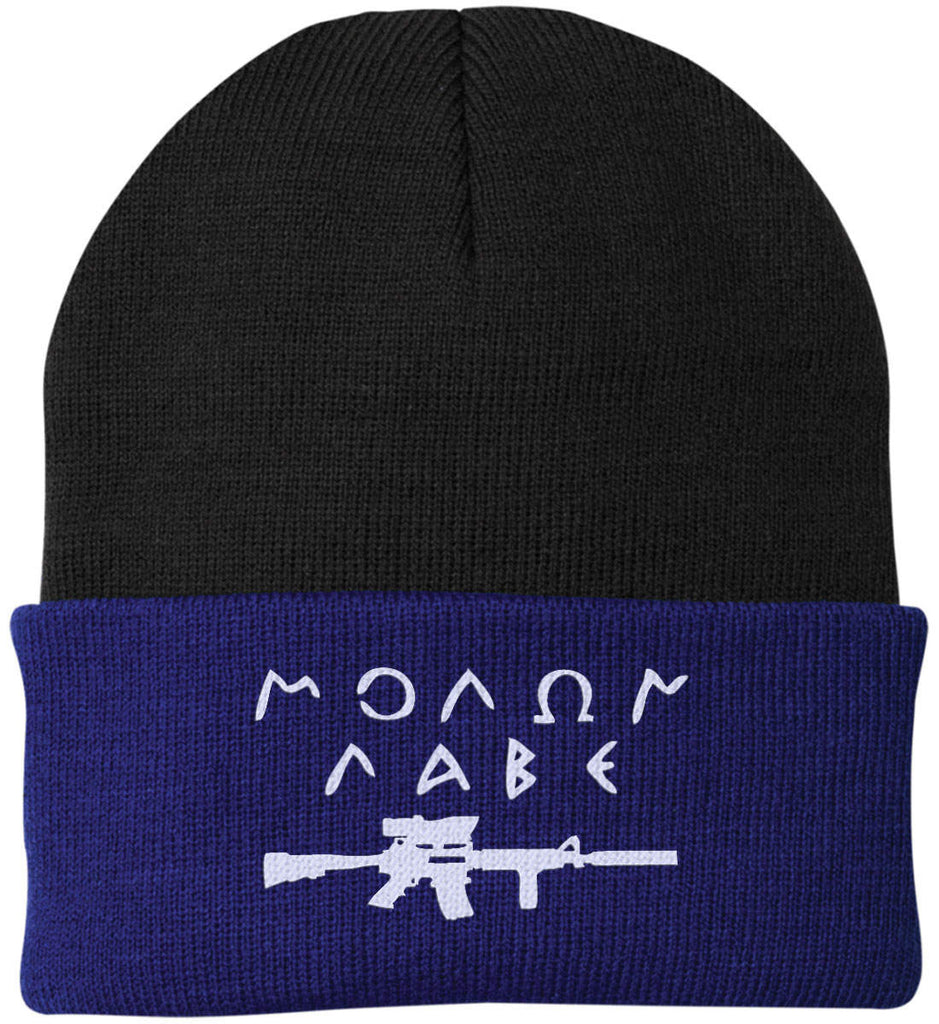 Molon Labe Rifle Hat. Port Authority Knit Cap. (Embroidered)-15