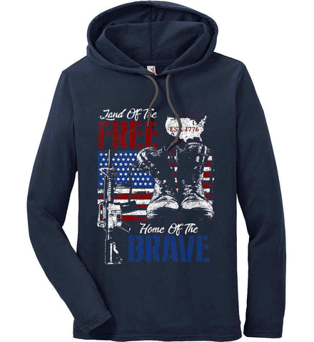 Land Of The Free. Home Of The Brave. 1776. Anvil Long Sleeve T-Shirt Hoodie.