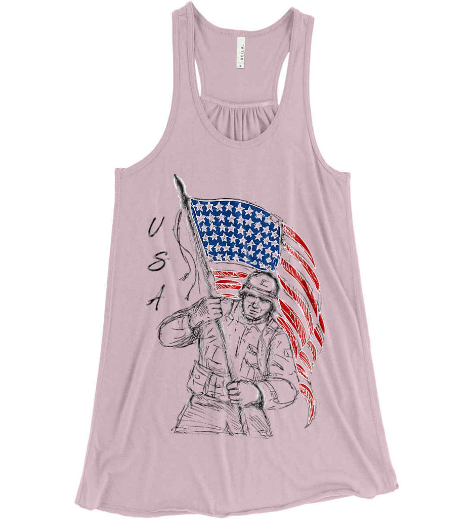Soldier Flag Design. Black Print. Women's: Bella + Canvas Flowy Racerback Tank.-2