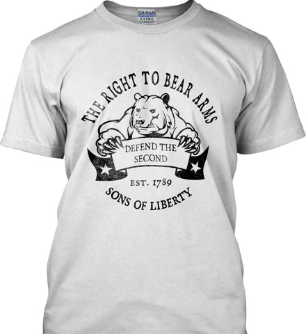 The Right to Bear Arms. Defend the Second. Black Print. Gildan Ultra Cotton T-Shirt.