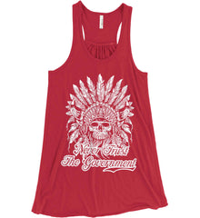Never Trust the Government. Indian Skull. White Print. Women's: Bella + Canvas Flowy Racerback Tank.
