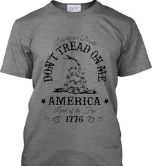 Don't Tread on Me. Liberty or Death. Land of the Free. Black Print. Port & Co. Made in the USA T-Shirt.