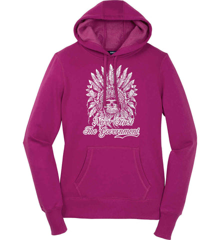Never Trust the Government. Indian Skull. White Print. Women's: Sport-Tek Ladies Pullover Hooded Sweatshirt.