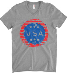 Grungy USA. Anvil Men's Printed V-Neck T-Shirt.