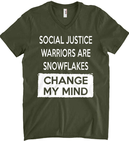Social Justice Warriors Are Snowflakes - Change My Mind. Anvil Men's Printed V-Neck T-Shirt.
