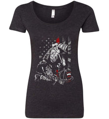 Thin Red Line. Kneeling Firefighter Ax. Women's: Next Level Ladies' Triblend Scoop.
