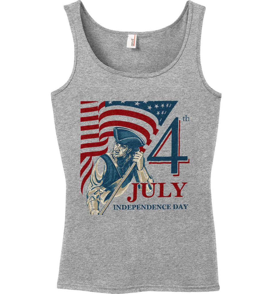 Patriot Flag. July 4th. Independence Day. Women's: Anvil Ladies' 100% Ringspun Cotton Tank Top.-2