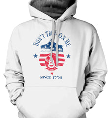 Don't Tread on Me. Snake on Shield. Red, White and Blue. Gildan Heavyweight Pullover Fleece Sweatshirt.
