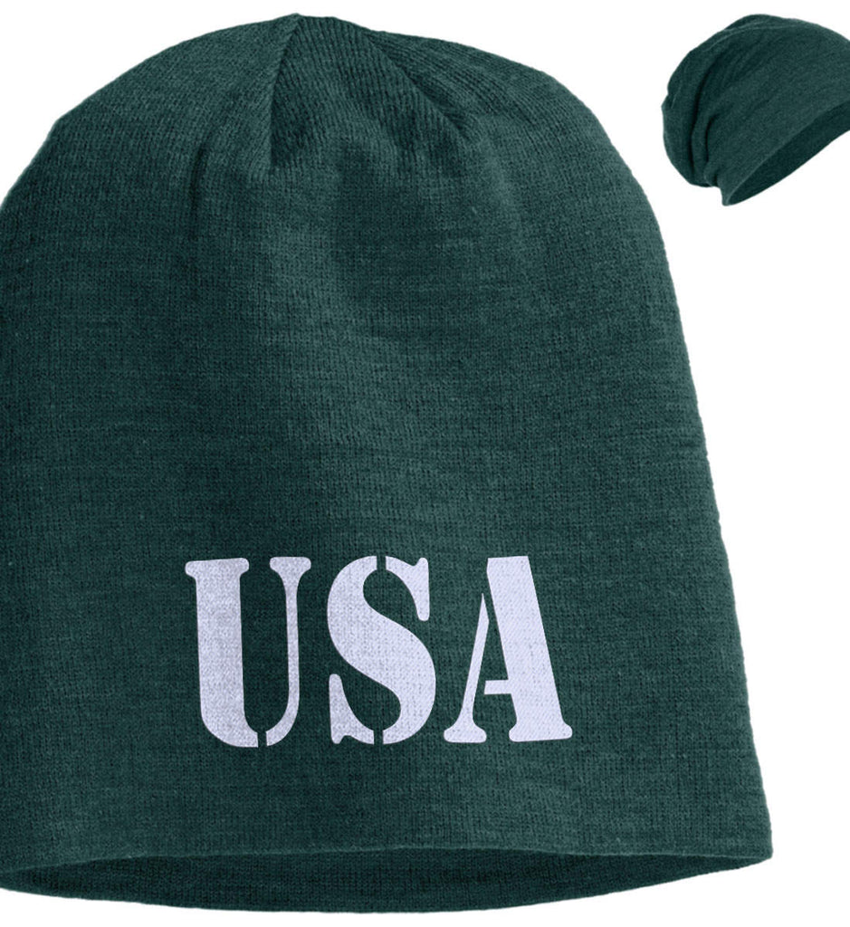 USA Patriot Hat District Slouch Beanie. (Embroidered)-3