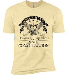 America: Less Democrat - Less Republican. More Constitution. Black Print Next Level Premium Short Sleeve T-Shirt.