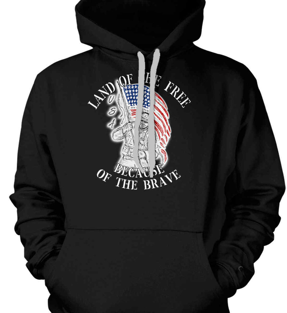 Land of the Free Because of The Brave. Gildan Heavyweight Pullover Fleece Sweatshirt.-1
