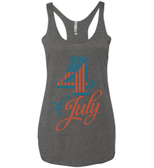 4th of July. Faded Grunge. Women's: Next Level Ladies Ideal Racerback Tank.