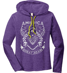 America. Great Again. White Print. Women's: Anvil Ladies' Long Sleeve T-Shirt Hoodie.