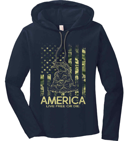 America. Live Free or Die. Don't Tread on Me. Camo. Women's: Anvil Ladies' Long Sleeve T-Shirt Hoodie.