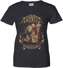 America A Nation of Heroes. Kneeling Soldier. Women's: Gildan Ladies' 100% Cotton T-Shirt.