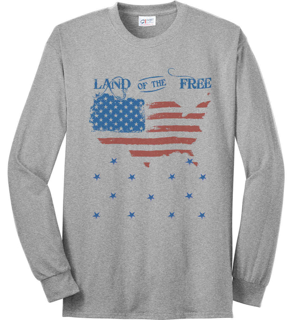 Land of the Free. Port & Co. Long Sleeve Shirt. Made in the USA..-1