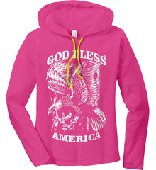 God Bless America. Eagle on Flag. White Print. Women's: Anvil Ladies' Long Sleeve T-Shirt Hoodie.