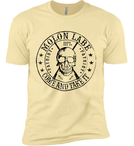 Molon Labe. Come and Take. Skull. Black Print Next Level Premium Short Sleeve T-Shirt.
