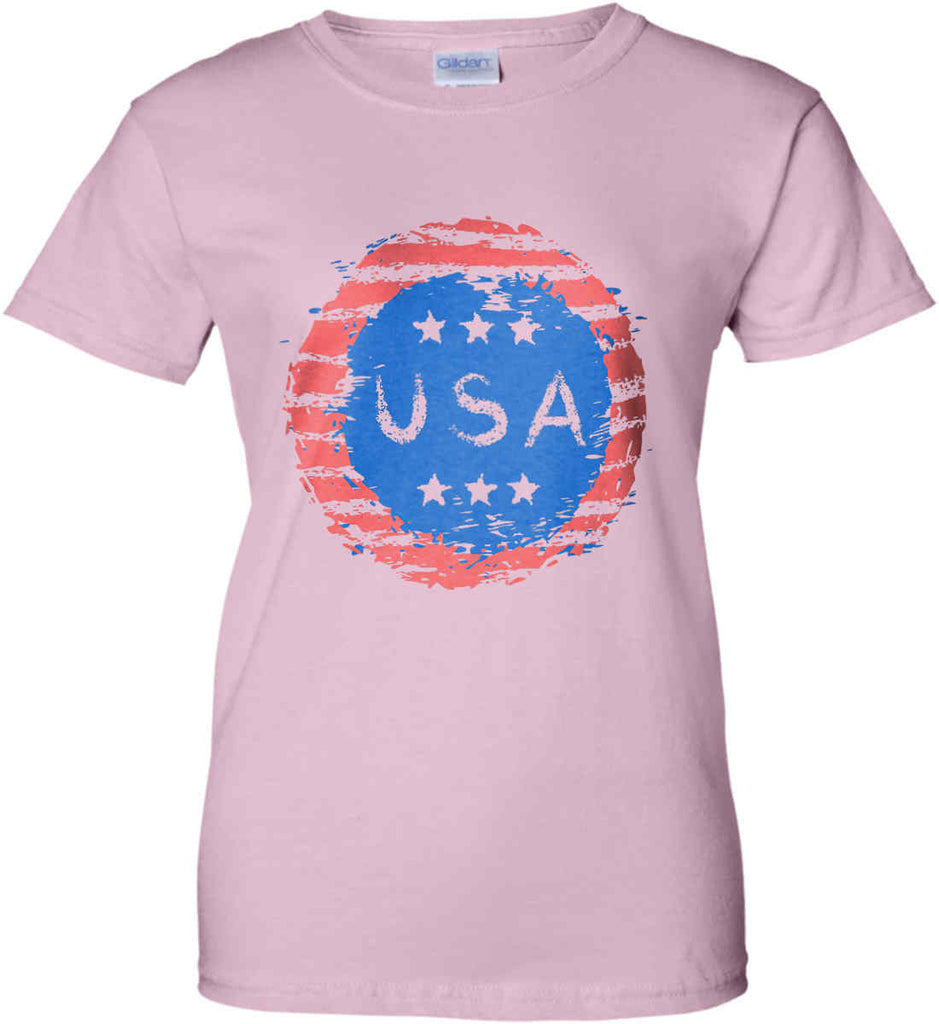 Grungy USA. Women's: Gildan Ladies' 100% Cotton T-Shirt.-5