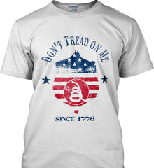 Don't Tread on Me. Snake on Shield. Red, White and Blue. Gildan Ultra Cotton T-Shirt.