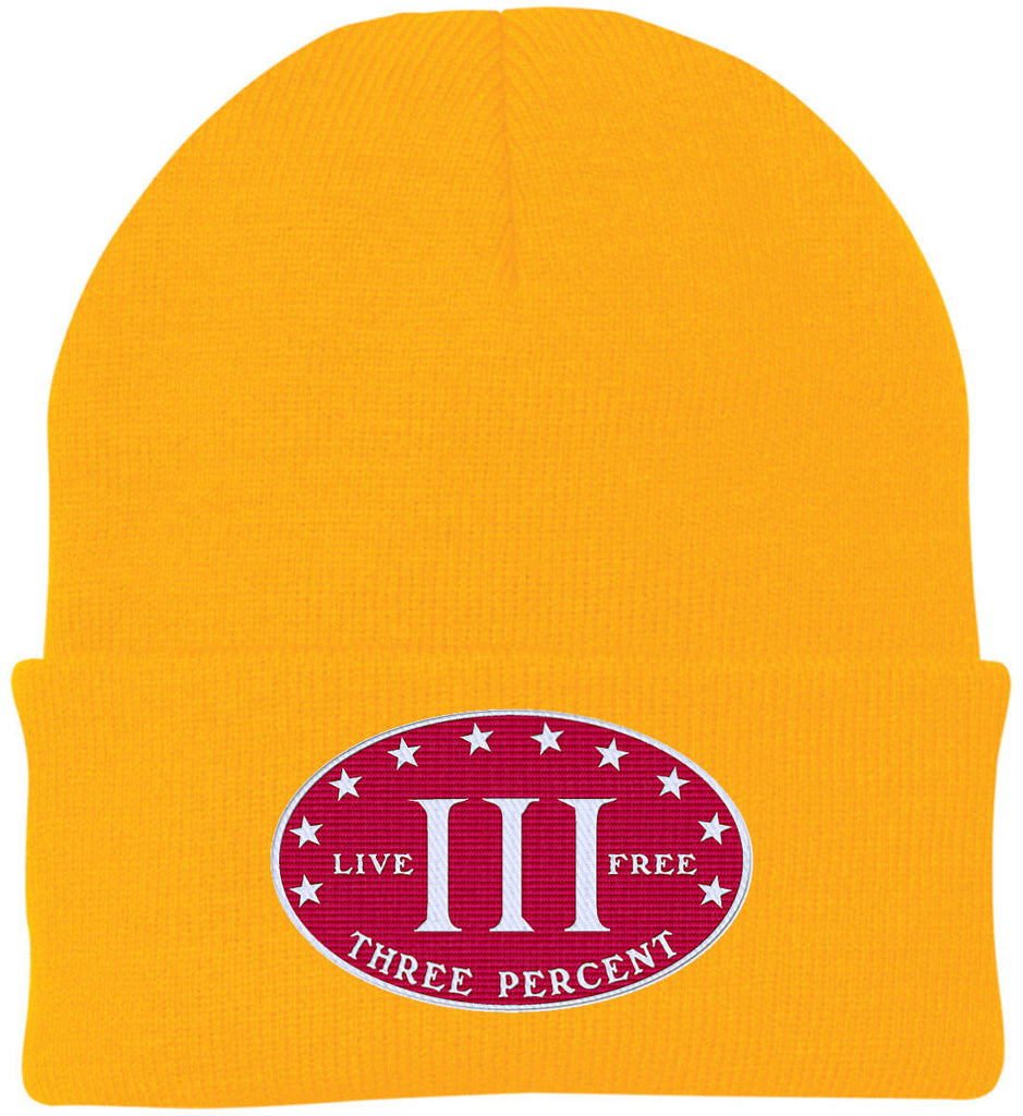 Three Percenter. Live Free. Hat. Port Authority Knit Cap. (Embroidered)-13