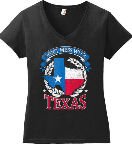 Don't Mess with Texas. Women's: Anvil Ladies' V-Neck T-Shirt.