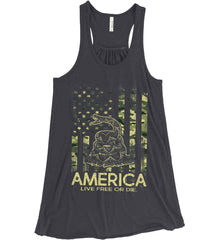 America. Live Free or Die. Don't Tread on Me. Camo. Women's: Bella + Canvas Flowy Racerback Tank.