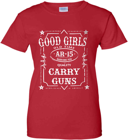 Gun Chick Tee. Good Girls Carry Guns. AR-15. Women's: Gildan Ladies' 100% Cotton T-Shirt.