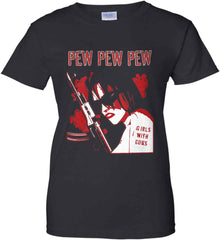 Pew Pew. Girls with Guns. Red Print. Women's: Gildan Ladies' 100% Cotton T-Shirt.